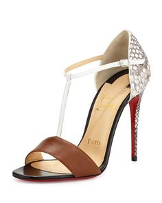 True Blue Python Red Sole Pump, Cuoio by Christian Louboutin at Neiman Marcus.