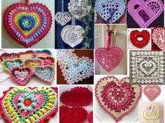 crochet hearts all