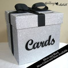 Silver Glitter Card Box with Cards Sign Choose Your Colors Birthday Box, 50th Birthday Party, Mom Birthday Gift, Birthday Cards, Graduation Card Boxes, Graduation Party Planning, Graduation Diy, Diy Card Box, Gift Card Boxes