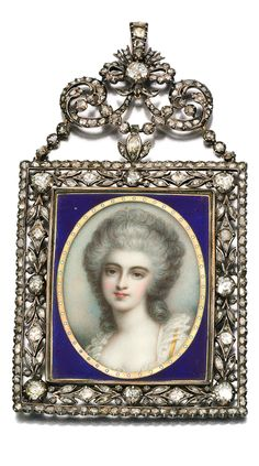 ENAMEL AND DIAMOND PORTRAIT MINIATURE, SECOND HALF OF THE 19TH CENTURY Set at the centre with a portrait miniature on ivory depicting a lady in 18th Century dress, inset to a border applied with translucent guilloché blue enamel, the frame and surmount set with rose diamonds, compartment to reverse containing woven hair.