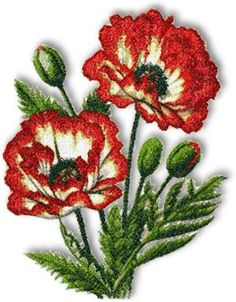 Advanced Embroidery Designs - Picotee Oriental Poppy.  A machine embroidered pattern for sale.