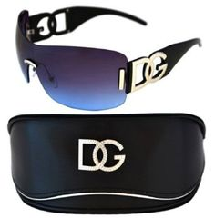 DG Eyewear Black Oversized Rimless Sunglasses and Oversized Case