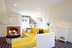 Laura Tutun Interiors - living rooms - Worlds Away Ava Buffet, attic family room, family room, checkerboard ceiling, sloped ceiling, black a...