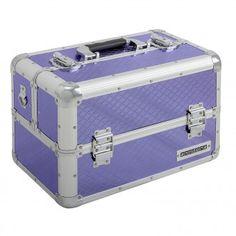 anndora Beauty Case Kosmetikkoffer Schmuckkoffer 21 L - Aluminium Silber Lila Purple