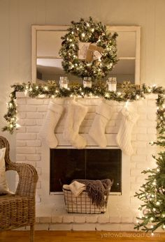 GORGEOUS Christmas Mantel and Tree at night!! Christmas decorating |Christmas decor...So Pretty! #Christmas #Sparkle