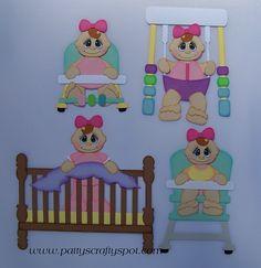 Baby Pals Girl Swing Crib Walker Highchair Toddlers Paper Piecing by Patty Birthday Scrapbook, Baby Scrapbook, Scrapbook Paper Crafts, Crib Swing, Paper Dolls Book, Baby Album, Punch Art, Paper Piecing, Diy Paper