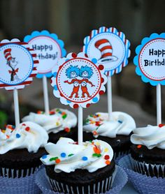 Dr Seuss Cupcake Toppers by iheartcupcakestoo on Etsy, $5.00