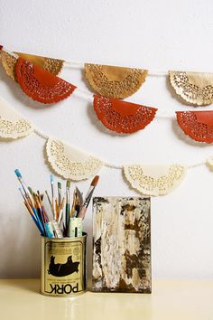 love these painted doily banners-can use pretty scrapbook paper instead
