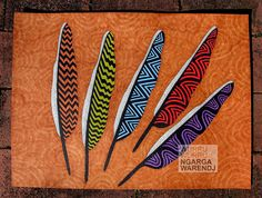 Bunjil created the earth and the Kulin Nation and this drawing of five Bunjil (Wedge Tailed Eagle) feathers represents the five tribes of the eastern Kulin people.