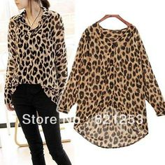 2013 New Sexy Wild Leopard Blouse For Womens Chiffon Top Loose Shirts Sheer Plus  size 1317 US $10.98