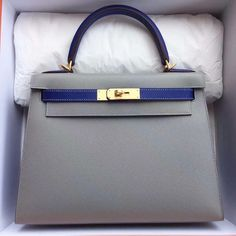Hermes Kelly 28 Sellier HSS Etain / Blue Electric with Pink stitching Epsom Ghw A