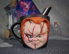 Handmade decorated mug with polymer clay.