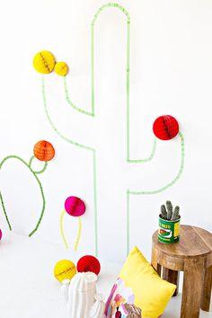 Party: Fiesta DIY Washi Tape Cactus Wall Art How to Choose a Bean Bag Chair Bean Bag Chairs are a gr Tape Wall Art, Washi Tape Wall, Washi Tapes, Masking Tape, Diy Washi Tape Crafts, Easy Diy Crafts, Cactus Craft, Cactus Wall Art, Baby Dekor