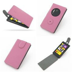 PDair Ultra Thin Leather Case for Nokia Lumia 1020 - Flip Top Type (Petal Pink)