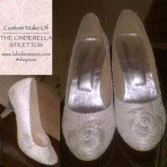 Custom Make of The Cinderella Stilettos! Like it?? - www.labelmansion.com #shoes #heels #stilettos #custom #embroidered #silver #white #cinderella #elegant #fashion #women #shoponline #india #shopnow #ootd #ootn #stylists #fashionbloggers #fashionistas #fashionigers #l4l #f4f