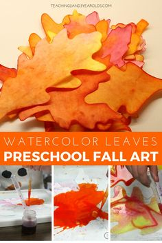 These watercolor leaves are so much fun to make with preschoolers during the fall! This activity combines fine motor strengthening and process art with a beautiful result!