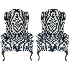 Pair of High Back Wing Chairs upholstered in Woven Ikat found on Polyvore featuring home, furniture, chairs, accent chairs, queen anne wingback chair, fabric chair, upholstered wing chairs, upholstery chairs and pair chairs