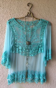 Romantic Gypsy mint Lace mesh with crochet peasant blouse / Bohemian Angel
