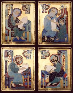 The history of the origin of man, a lion, an eagle and ox: vedaveta Byzantine Gold, Byzantine Jewelry, Christian Paintings, Christian Art, Ancient Near East, Art Icon, Orthodox Icons, Medieval Art, Handmade Books