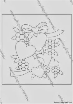 T T multi hearts and flowers Hand Embroidery Patterns Free, Embroidery Hearts, Hand Applique, Applique Embroidery Designs, Applique Patterns, Applique Quilts, Vintage Embroidery, Mug Rug Patterns, Quilt Block Patterns