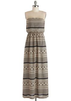 Monochrome Mosaic Dress. Outfit yourself in an intricately patterned work of art in this black and cream maxi dress!  #modcloth