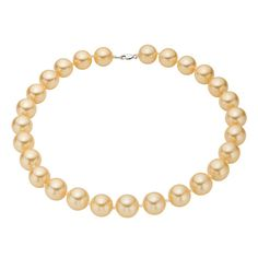 Sterling Silver Golden Shell Pearl Strand Necklace Large 14mm Pearls by O Jewels $29.99