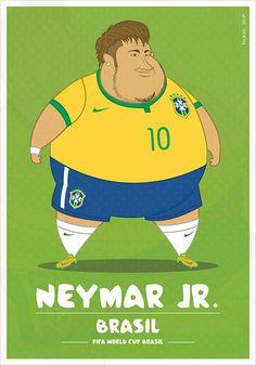 Ilustrações mostram como seriam os jogadores de futebol se fossem gordos