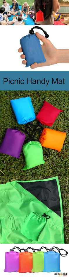 """US$8.99 + Free shipping. KCASA KC-PMP2 150cm Outdoor Travel Camping Folding Picnic Handy Mat Portable Pocket Waterproof Beach Mat With Storage Bag. Size: 152cm x 140cm / 59.84"""" x 55.12"""". Material: Nylon Cloth. Color: Grey, Orange, Black, Blue, Purple, Green, Red, Yellow. Weight: 150g:)"""