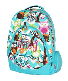 Aqua monogrammed book bag and lunch box combo from Simply Southern ...