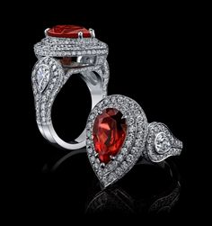 Robert Procop Exceptional Jewels:  4ct reddish orange sapphire with diamonds in platinum