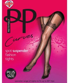 cb001f3ac82 Pretty Polly Curves Mock Spot Suspender Tights are Mock because the Lace  and Suspenders are fake