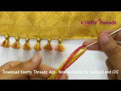 How to make Baby Kuchu Design using 2 colours Saree Tassels Designs, Saree Kuchu Designs, Hand Embroidery Designs, Beaded Embroidery, Embroidery Stitches, Baby Design, How To Make Tassels, Buy Earrings, Jewellery Making Materials