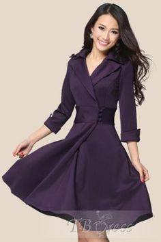Slim Three Quarter Sleeve Women's Day Dress