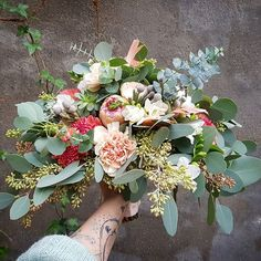 #big #boho #vintage #bridalbouquet #mint #peach #eucalyptus #protea #wedding #weekend #flowers #flowershop #cologne #blumenmädchenköln #brautstrauß #braut #Hochzeit