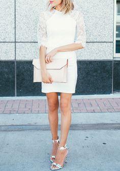 White Patchwork Half Sleeve Wrap Chiffon Mini Dress