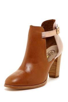candela cut-out boots in brown + rose gold leather