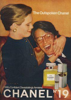 "1977 Fragrance Ad, Chanel No. 19 Perfume, ""The Outspoken Chanel"" Chanel 19, Coco Chanel, Chanel Logo, Sigmund Freud, Vintage Advertisements, Vintage Ads, Retro Ads, Vintage Images, Vintage Pink"