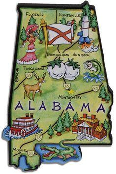 MGAL70 Magnet Large Artwood Alabama Map