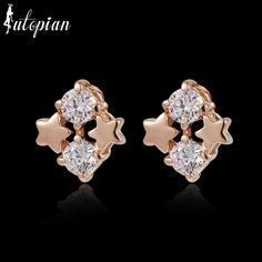 Iutopian Fashion Jewelry Elegant Shining Star Stud Earrings for Women with Austrian Crystal stellux  Top Quality