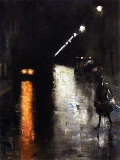 artishardgr: Lesser Ury: Nocturnal Street Scene (c.1920)