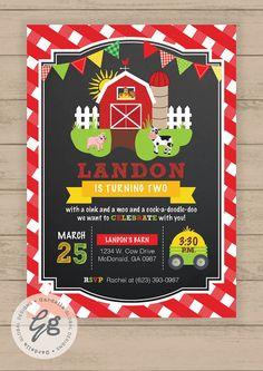 Farm Invitations Old McDonald Invitations Country Birthday Party Chalkboard Farm…