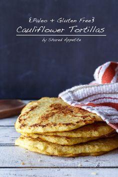 Low Carb Cauliflower tortilla http://sharedappetite.com/bread-3/paleo-gluten-free-cauliflower-tortillas/