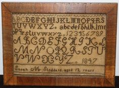 1847 SCHOOLGIRL SAMPLER OF SUSAN M. STODDARD, Primitive Stitchery, Primitive Crafts, Antique Auctions, Antique Shops, Cross Stitch Samplers, Schoolgirl, Animal Print Rug, Needlework, Stitching