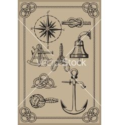 Nautical elements on vintage background vector on VectorStock®