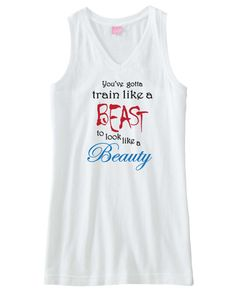Cute Workout Fitness Tank.  Train like a beast.  Available in white, gray, and pink.