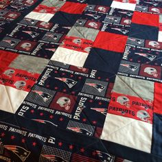 New England Patriots Quilt by RosehillQuilting on Etsy Patriots Bedding, Football Quilt, Sports Quilts, Patriots Football, Custom Quilts, Sewing Art, New England Patriots, Embroidery, Fabric