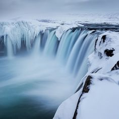 Godafoss Waterfall in Iceland.  Freezing spray made this spot impossible to photograph a few days before this image was taken.  I admit to u...