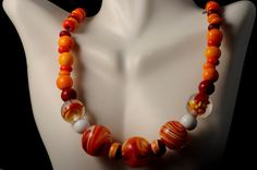 Red yellow clear lampworked solid glass beads by MYglassdesigns