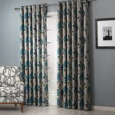 Room Darkening Chic Country Leaves Pattern Curtain (Two Panels) – GBP £ 36.49