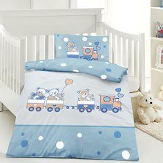 ... Motiven   Kinderbettwäsche Set, Babybettwäsche, Bedruckter Bettbezug  Für Jungen U0026 Mädchen   Bärchen Mit Zug Blau #kinderbettwäsche #babyzimmer